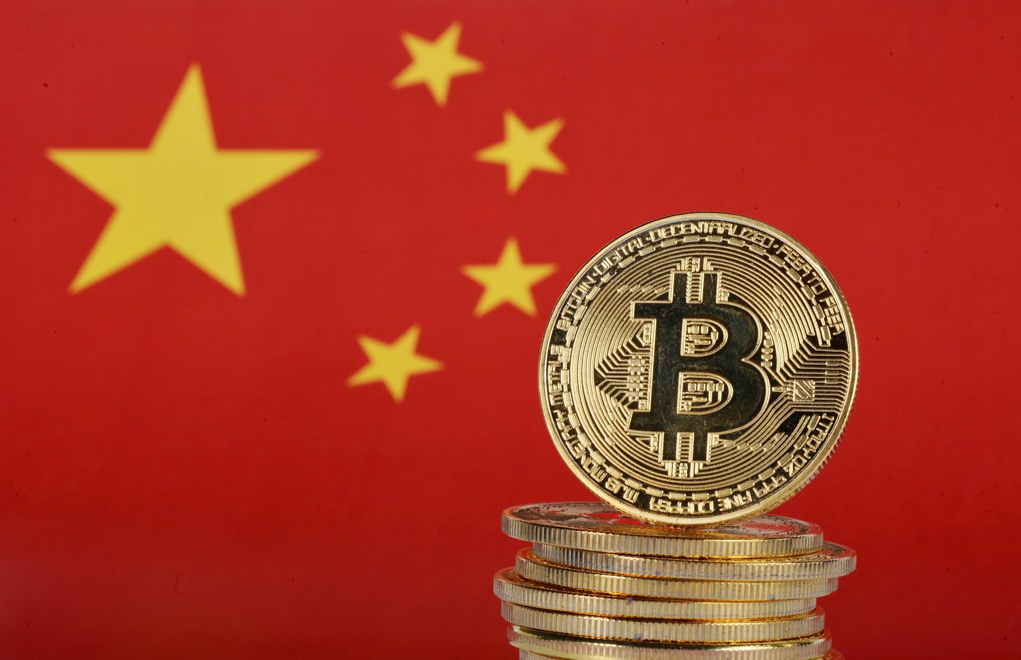 China's flag and bitcoin