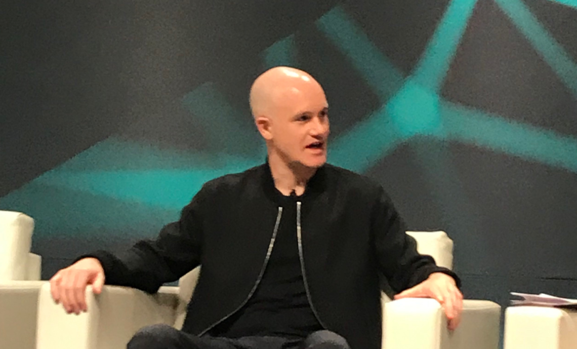 Brian Armstrong speaking at Consensus 2019 (photo by Leo Jakobson for Modern Consensus).
